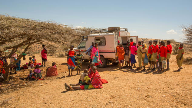 The mobile clinic visits once a month.