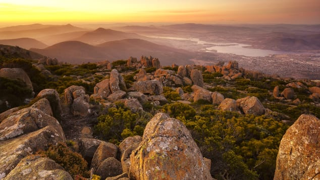 The top of Mount Wellington in Tasmania offers stunning landscape views.
