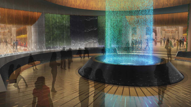 "A free show encompassing sound, light, water and choreography, ""The Oculus"" will be on view inside the guitar hotel."
