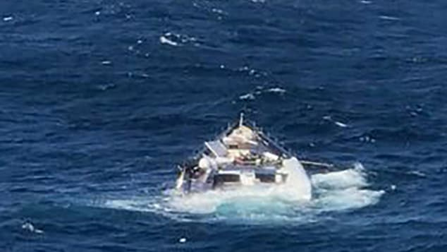 The prize-winning boat fell from a cargo ship into the sea, and was later pictured half-submerged.