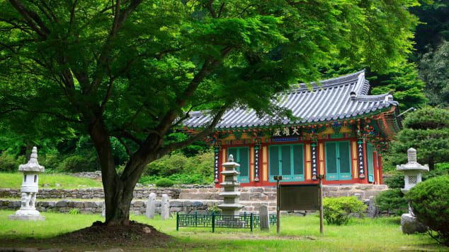 Gangcheonsa Temple's setting is lush and green.