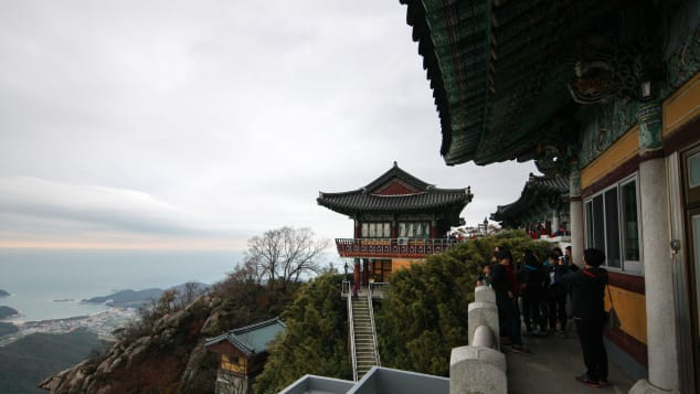 Boriam Hermitage Temple is known for its rugged landscape.