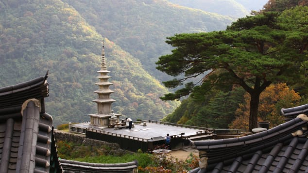 Cheongryangsa Temple is surounded by dramatic rock formations.