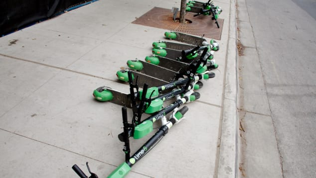 Scooters can be ditched by users wherever they like