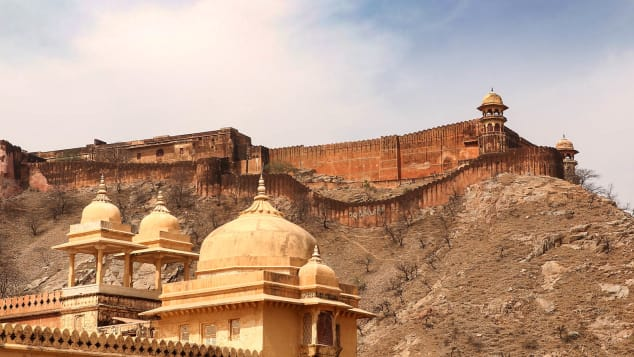 The Amber Fortress stands on a hilltop near Jaipur.