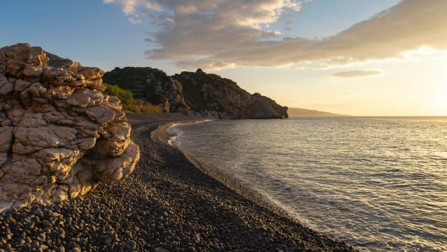 Mavra Volia beach on Chios island.
