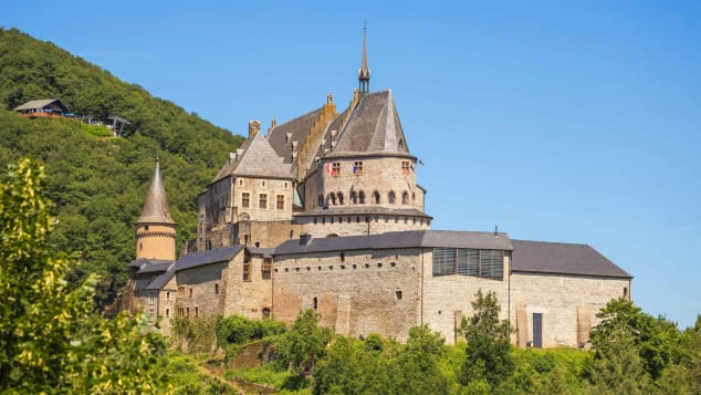 Schloss Vianden sits high above the Our River in northern Luxembourg.