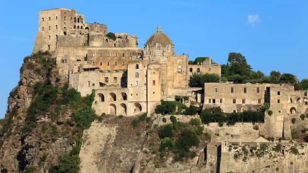 Aragonese Castle has views across the bay to Mt. Vesuvius.