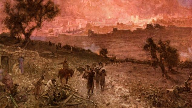 O ilustrare a cuceririi babiloniene a Ierusalimului, de William Hole, 1846-1917.