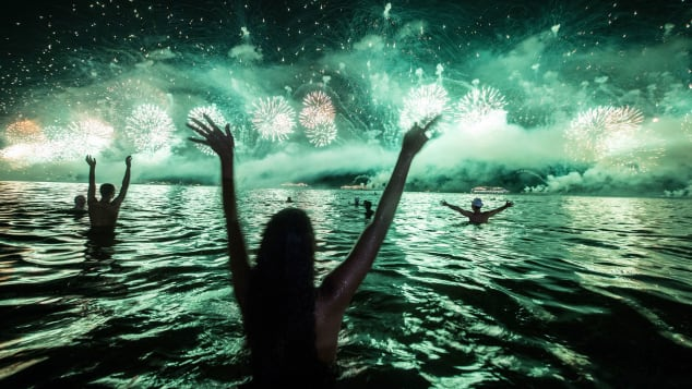 The New Year's Eve celebration at Rio de Janeiro's Copacabana Beach includes fireworks and often a late-night swim.