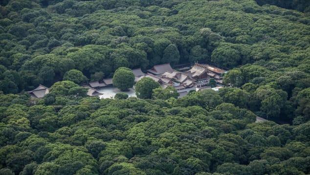 An aerial view of Meiji Shrine in Yoyogi Park.