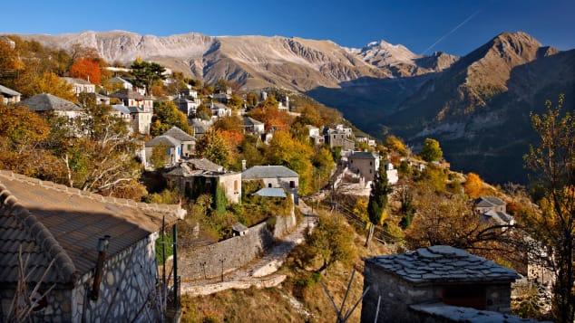 The mountainous village of Kalarites in Ioannina, the capital of Epirus.
