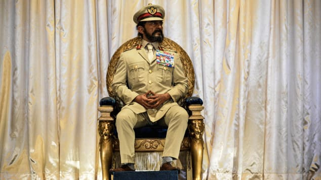 A waxwork of former emperor Haile Selassie sits in the Throne House.