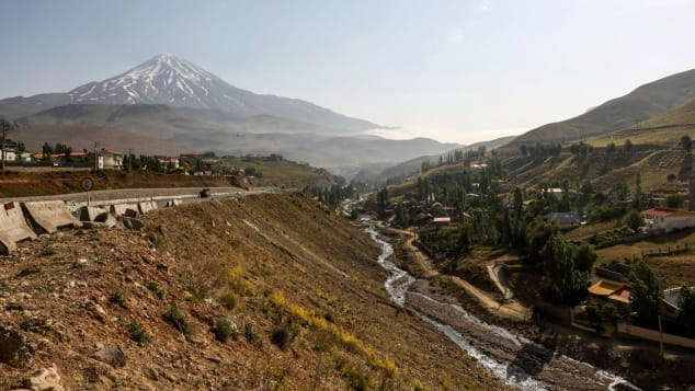 Mount Damavand is Iran's highest peak and a potentially active stratovolcano.