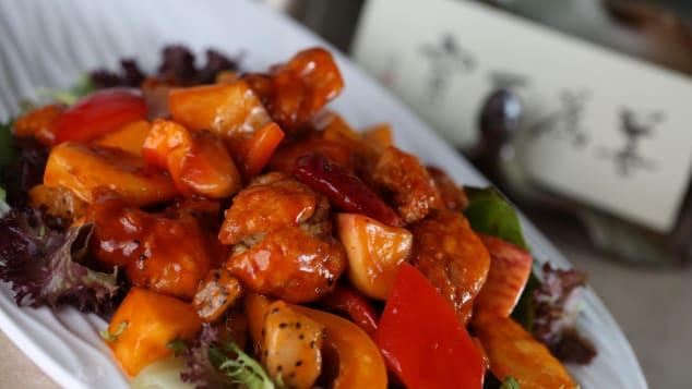 "A vegetarian sweet and sour ""pork"" dish at Green Veggie restaurant in Sheung Wan, Hong Kong."