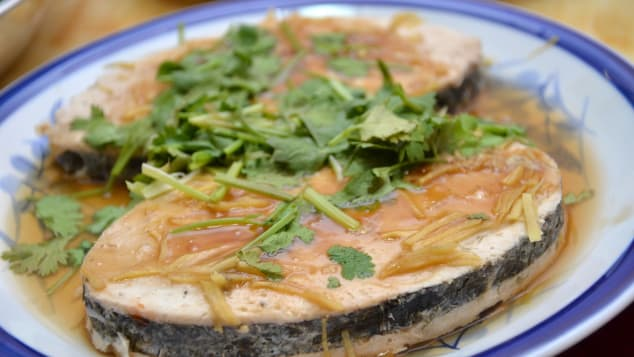 "A Chinese ""fish"" dish made from vegetarian ingredients, including a faux fish skin."