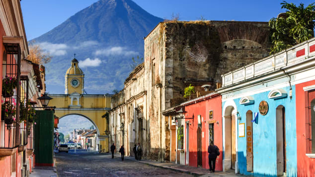 Antigua is a gorgeous Spanish colonial town in Guatemala with a volcano as a dramatic backdrop.