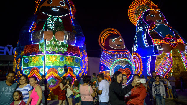 People look at the spectacular Christmas lights in Medellin.