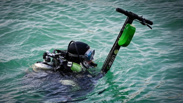 Some e-scooters get thrown in rivers, canals or the sea.