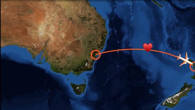 The couple got married half way between their home countries of Australia and New Zealand.