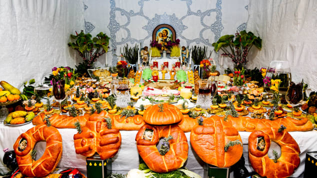 Food altars are set up around the town to celebrate St Joseph on March 19.