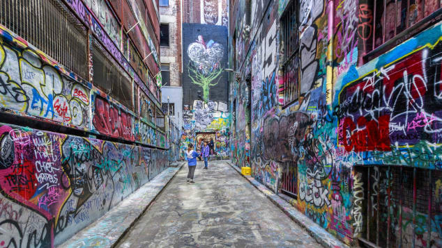 Hosier Lane is at the epicenter of Melbourne's art scene.