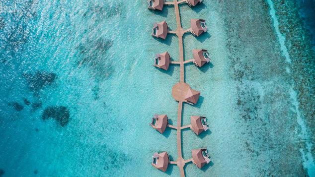 InterContinental Maldives - Hero shot - Overwater Pool Villas (Aerial View)
