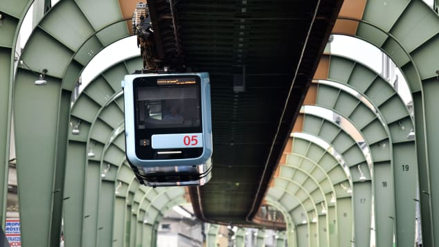 The Schwebebahn railway in Wuppertal is one of the world's coolest rail systems. Ina Fassbender/AFP/Getty Images