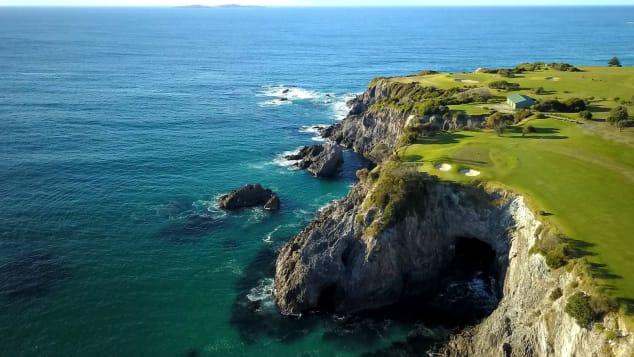 The Narooma golf course in greener times -- with superb views across the ocean.