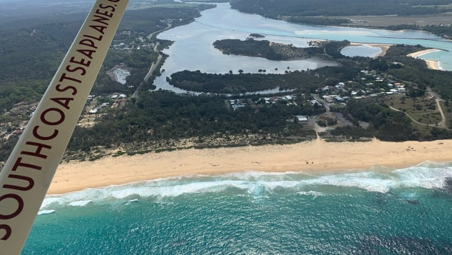 The view from a South Coast Seaplane flight over Moruya and the New South Wales coast after the fires on Sunday, January 19.