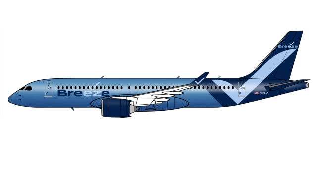 This rendering shows the Breeze A220 aircraft that will serve mid-size markets.