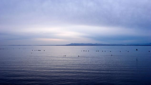 The Salton Sea, a saline lake, is in southern California.