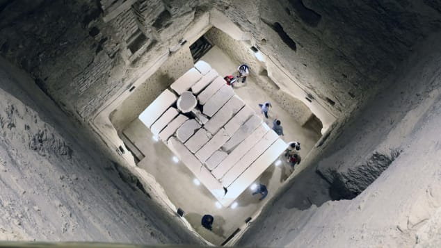 The outer facades of the pyramid, the internal corridors leading to the burial well, the stone sarcophagus, and stairs of two entrances were all restored.