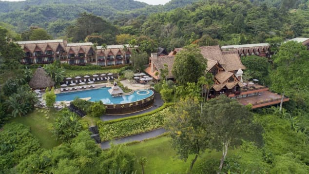 An aerial view of the Anantara Golden Triangle Elephant Camp & Resort.