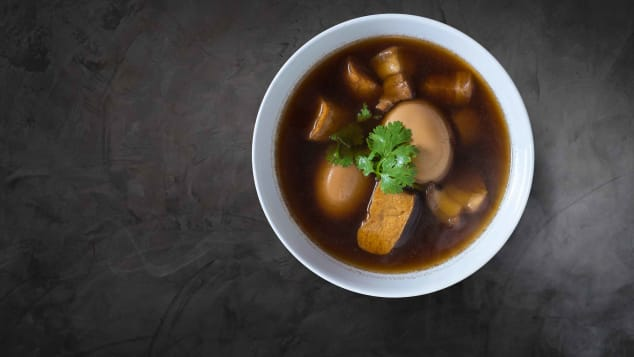 Kao palo is a five-spice soup featuring hard boiled eggs.