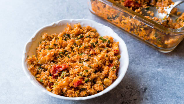 This simple salad dish is made of fine bulgur wheat, tomatoes, garlic, parsley and mint