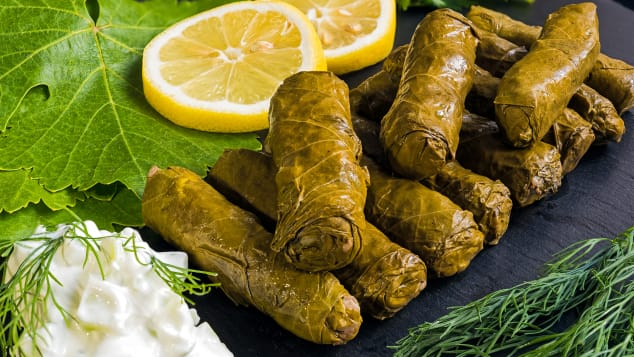 This traditional dish is essentially vine leaves rolled and filled with either well-seasoned rice or mincemeat