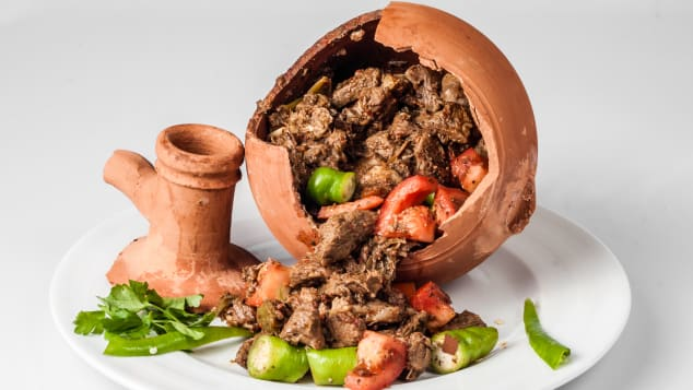 Testi kebab -- a meat and vegetable dish that needs to be broken open before it's eaten