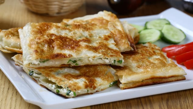 This traditional Turkish pastry is often stuffed with salty white cheese, minced beef or spinach