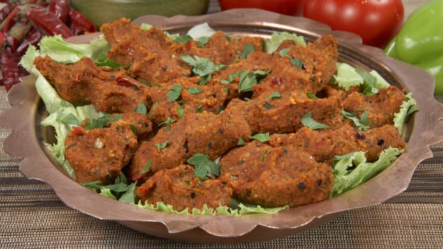 Cig kofte -- a raw meatball dish in which the meat is usually substituted with bulgur and/or ground walnuts