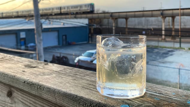A Ginjo Highball enjoyed from the comfort of one's home.