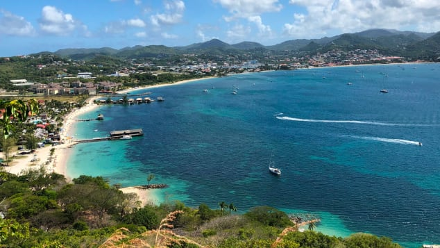 Pigeon Beach in Saint Lucia as seen from Fort Rodney