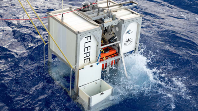 """Prior to descent, the EYOS team dispatches scientific """"landers"""" to the bottom of the ocean."""