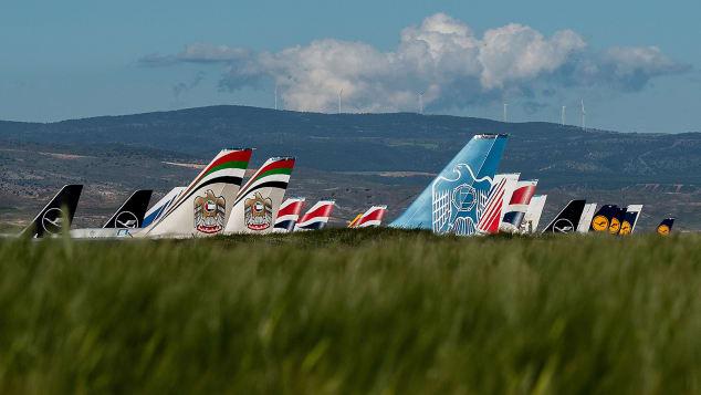 Lufthansa, Etihad and British Airways planes parked at Teruel.