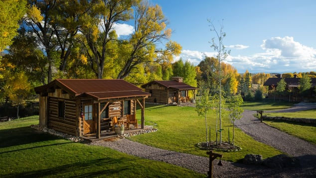 The property includes nine historically restored cabins of varying size.