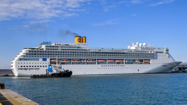 Costa Victoria at the port of Civitavecchia on March 25, 2020.