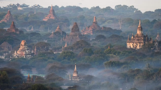 An aerial view of the temples of Bagan, an ancient city and a UNESCO World Heritage Site on January 18, 2020.