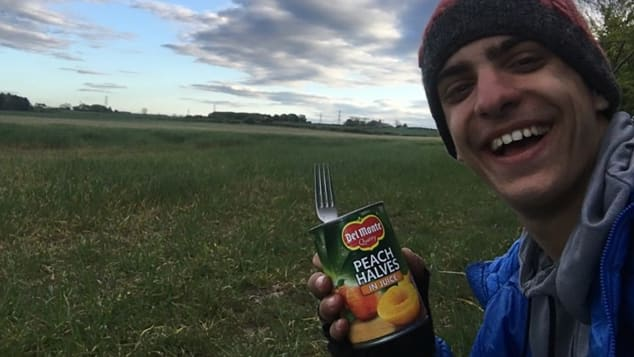 Papadimitriou packed canned goods and bread for his 48-day trip