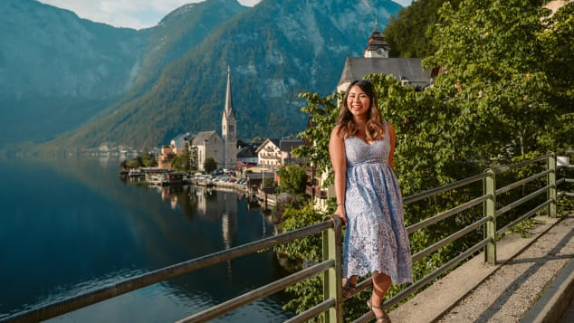 Travel blogger Christina Guan at Hallstatt, Austria. Guan, a Chinese-Canadian, has been based in Munich, Germany, since 2015.