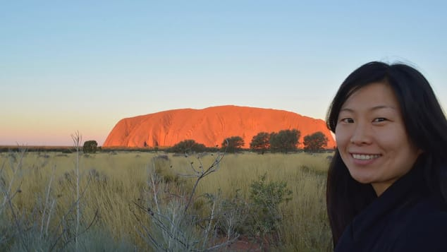 Lianne Bronzo, a Korean American adoptee, is pictured on visit to Uluru, Australia. Because of Covid-19, Bronzo returned home to the United States after traveling for the past eight years.